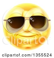 Clipart Of A 3d Yellow Male Smiley Emoji Emoticon Face Wearing Sunglasses Royalty Free Vector Illustration