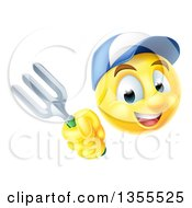 Clipart Of A 3d Yellow Male Smiley Emoji Emoticon Gardener Holding A Fork Royalty Free Vector Illustration