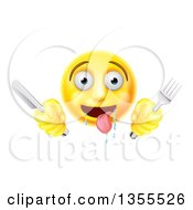 Clipart Of A 3d Yellow Hungry Male Smiley Emoji Emoticon Holding A Knife And Fork Royalty Free Vector Illustration by AtStockIllustration