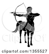 Clipart Of A Black And White Centaur Archer Half Man Half Horse Aiming To The Left Royalty Free Vector Illustration by AtStockIllustration