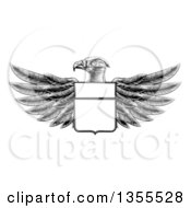 Clipart Of A Black And White Engraved Or Woodcut Heraldic Coat Of Arms American Bald Eagle With A Shield Royalty Free Vector Illustration