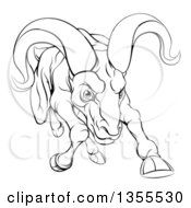 Clipart Of A Black And White Tough Angry Ram Sheep Charging Forward Royalty Free Vector Illustration