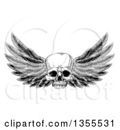 Clipart Of A Black And White Vintage Engraved Or Woodcut Winged Human Skull Royalty Free Vector Illustration by AtStockIllustration