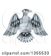 Clipart Of A Silver Heraldic Coat Of Arms American Bald Eagle With A Shield Royalty Free Vector Illustration
