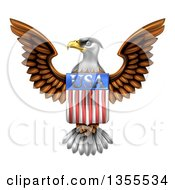 Clipart Of A Flying American Bald Eagle With A USA Flag Shield Royalty Free Vector Illustration