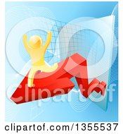 Clipart Of A 3d Successful Cheering Gold Man Running On A Red Arrow Over Graphs On Blue Royalty Free Vector Illustration