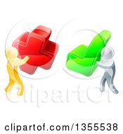 Clipart Of 3d Right And Wrong Gold Men Carrying X And Check Marks Royalty Free Vector Illustration by AtStockIllustration