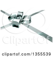 Clipart Of A 3d Silver Christmas Birthday Or Other Holiday Gift Bow And Ribbon Over Shaded White Royalty Free Vector Illustration
