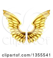 Clipart Of A Pair Of 3d Metal Golden Wings Royalty Free Vector Illustration