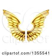 Pair Of 3d Metal Golden Wings