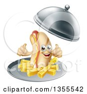 Clipart Of A 3d Hot Dog Character Giving A Thumb Up With A Side Of French Fries Being Served In A Cloche Platter Royalty Free Vector Illustration