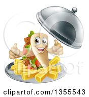 Clipart Of A 3d Souvlaki Kebab Sandwich Character And French Fries Being Served In A Cloche Platter Royalty Free Vector Illustration