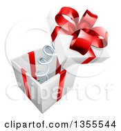Clipart Of A 3d Gift Box With A Red Bow And The Lid Popping Off On A Spring Royalty Free Vector Illustration