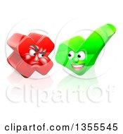 Happy Check Mark And Mad X Mark Characters