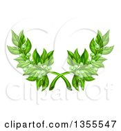 Clipart Of Crossed Green Peace Olive Branches With Tiny Fruits Royalty Free Vector Illustration