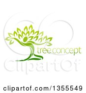 Clipart Of A Graceful Gradient Green Tree Man With Sample Text Royalty Free Vector Illustration by AtStockIllustration