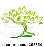 Clipart Of A Graceful Gradient Green Tree Man Royalty Free Vector Illustration by AtStockIllustration