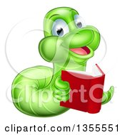 Clipart Of A Happy Green Earthworm Reading A Book Royalty Free Vector Illustration by AtStockIllustration