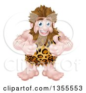 Clipart Of A Cartoon Muscular Happy Caveman Giving Two Thumbs Up Royalty Free Vector Illustration by AtStockIllustration