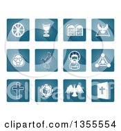 Clipart Of Square Blue And White Christian Icons Royalty Free Vector Illustration by AtStockIllustration