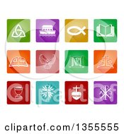 Clipart Of Colorful And White Square Christian Icons Royalty Free Vector Illustration