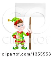 Clipart Of A Cartoon Happy Male Christmas Elf Giving A Thumb Up And Holding A Blank Sign Royalty Free Vector Illustration