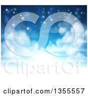 Clipart Of A Background Of Heavenly Sky With Shining Light And Clouds Royalty Free Vector Illustration
