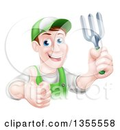 Clipart Of A Middle Aged Brunette White Male Gardener In Green Holding A Garden Fork And Thumb Up Royalty Free Vector Illustration by AtStockIllustration