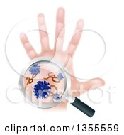 Clipart Of A Caucasian Antibacterial Hand With Germs And Viruses Through A Magnifying Glass Royalty Free Vector Illustration