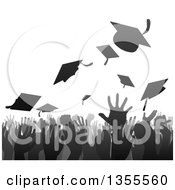 Clipart Of A Gray And Black Silhouetted Graduation Crowd Tossing Up Their Mortar Board Caps Royalty Free Vector Illustration