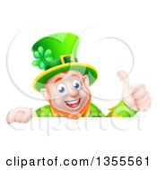 Cartoon Happy Leprechaun Giving A Thumb Up Over A Sign