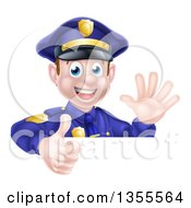 Clipart Of A Cartoon Happy Caucasian Male Police Officer Waving And Giving A Thumb Up Over A Sign Royalty Free Vector Illustration