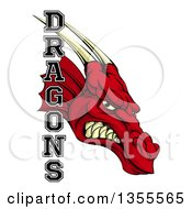 Clipart Of A Roaring Red Dragon Head And Text Royalty Free Vector Illustration