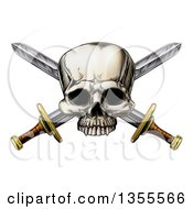 Engraved Pirate Skull Over Crossed Swords