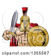 Clipart Of A Shirtless Muscular Gladiator Man In A Helmet Holding A Sword And Shield From The Waist Up Royalty Free Vector Illustration by AtStockIllustration