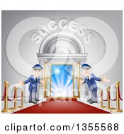 Clipart Of A Venue Entrance With Welcoming Doormen A Red Carpet And Posts And Success Text Over Light Royalty Free Vector Illustration by AtStockIllustration