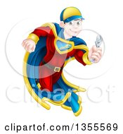Clipart Of A Young Brunette Caucasian Male Super Hero Mechanic Running With An Adjustable Wrench Royalty Free Vector Illustration by AtStockIllustration