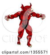 Clipart Of A Muscular Aggressive Red Welsh Dragon Man Mascot Walking Upright Royalty Free Vector Illustration by AtStockIllustration