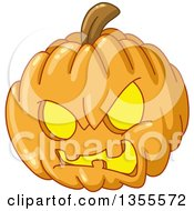 Clipart Of A Cartoon Evil Angry Hallowen Jackolantern Pumpkin Royalty Free Vector Illustration by yayayoyo