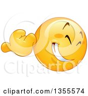 Clipart Of A Cartoon Yellow Emoji Emoticon Using His Thumb To Gesture Over His Shoulder Royalty Free Vector Illustration