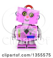 Clipart Of A 3d Friendly Retro Pink Female Robot Tilting Her Head And Smiling Royalty Free Illustration