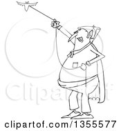 Outline Clipart Of A Cartoon Black And White Chubby Dracula Vampire Flying A Bat Royalty Free Lineart Vector Illustration by djart