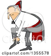 Clipart Of A Cartoon Chubby Dracula Vampire Putting His Shoes On Royalty Free Vector Illustration