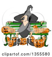 Cartoon Chubby Warty Halloween Witch Sitting On A Bench Surrounded By Jackolantern Pumpkins
