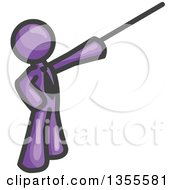 Clipart Of A Purple Business Man Using A Pointer Stick Royalty Free Vector Illustration