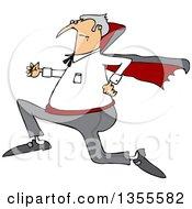 Clipart Of A Cartoon Chubby Halloween Dracula Vampire Running Royalty Free Vector Illustration by Dennis Cox