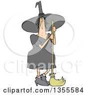 Cartoon Chubby Halloween Witch Standing With A Broom