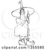 Cartoon Black And White Chubby Halloween Witch Standing With A Broom