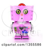 Clipart Of A 3d Curious Retro Pink Female Robot Looking Up Royalty Free Vector Illustration by stockillustrations