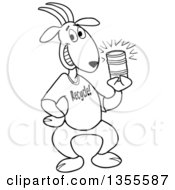 Outline Clipart Of A Cartoon Black And White Goat Wearing A Recycle Shirt And Holding A Tin Can Royalty Free Lineart Vector Illustration by LaffToon